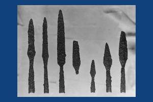 Spears discovered at the Anglo Saxon cemetery near Morden Road, Mitcham