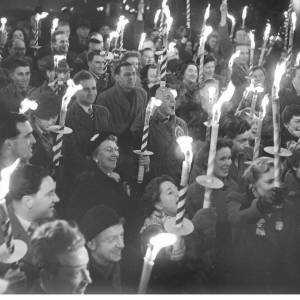 Traditional torchlight procession celebrating the end of polling 1959