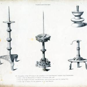 Candlesticks, Goodrich Court, drawings