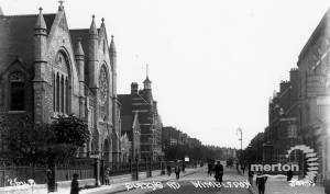 Queens Road, Wimbledon: Baptist church pictured on the left