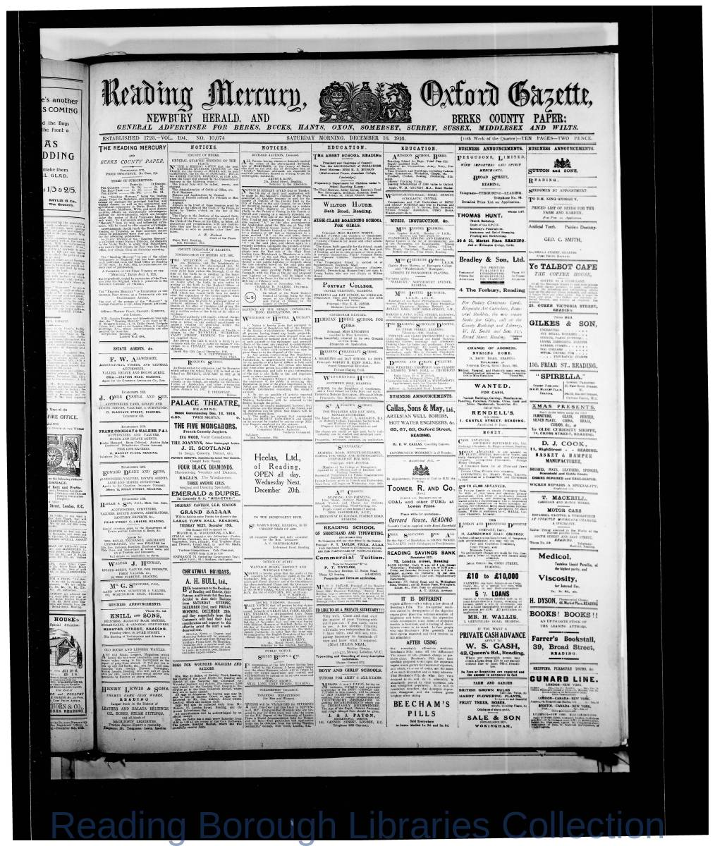 Reading Mercury Oxford Gazette Saturday, December 16, 1916. Pg 1