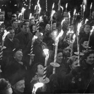Hereford Liberal Supporters Torch Light Parade in Hereford Streets