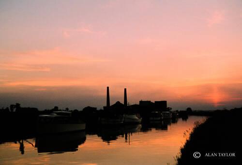 Sunset over Agden saltworks