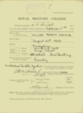 William Connal -  RMC Form 18A Personal Detail Sheets Jan & Sept 1920 Intake