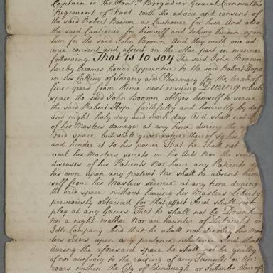 Indenture between Robert Hope, surgeon apothecary of Edinburgh and John Brown