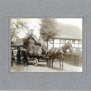 Aylhill, carter house, cider casks on dray, 1910