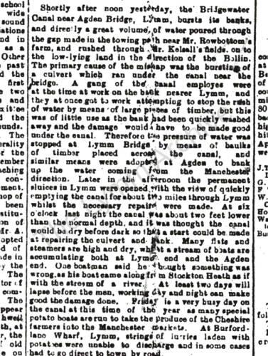 1906, Bridgewater Canal burst Agden