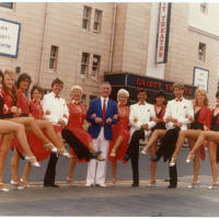 Photograph - 1984 Gaiety Whirl - performers and dancers shown outside the Gaiety Theatre building