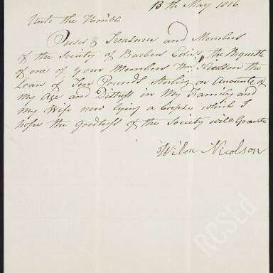 """William Nicolson for a loan because of his age, distress in his family and his wife """"now lying a corpse"""""""