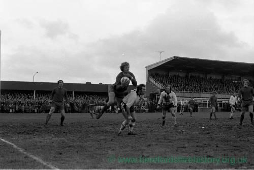 Newcastle goalkeeper Iam McFaul v Hereford, Feb 1972.