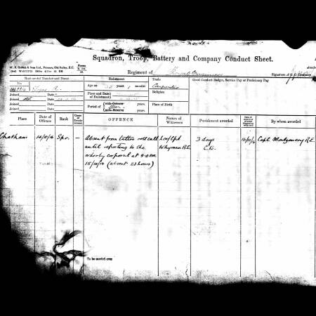 Squadron Conduct Sheet for Alfred Lyne