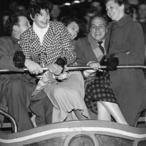 Fun on the waltzer at Hereford May Fair, 1950s.