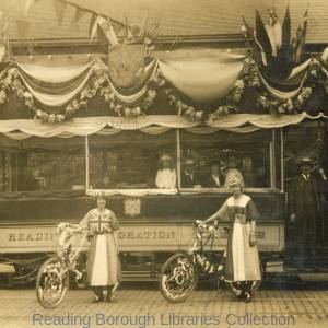 Tramcar decorated to celebrate the peace at the end of the First World War, 1919