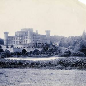 Eastnor Castle, exterior looking across the moat