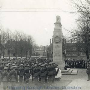 Service to mark the anniversary of the Armistice, at the cenotaph at Brock Barracks, Oxford Road, Reading, 11 November 1927.