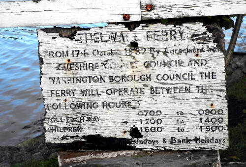 Old sign  at the Penny Ferry, Thelwall