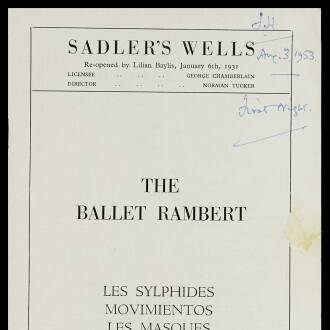 Sadler's Wells Theatre, London, August 1953