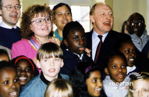 Neil Kinnock and Siobhan McDonagh at Bond School, Mitcham