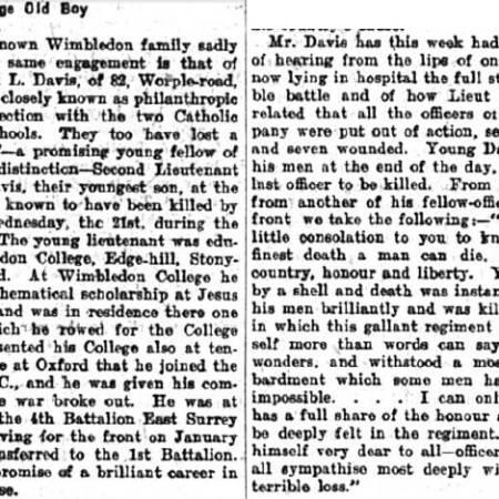 Newspaper Extract - Wilfrid Allen Davis