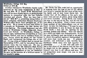 Newspaper Extract - Wilfrid Allen Davis