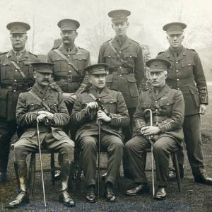 Commanding Officer Lt.-Col. F.A. Deane and Officers, Royal Berkshire Regiment, Brock Barracks, Reading, August 1914.