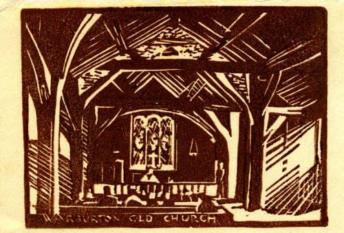 Lino print of Warburton Old Church by Dorothea Rowlinson
