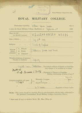 William Woods -  RMC Form 18A Personal Detail Sheets Jan & Sept 1920 Intake