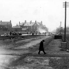 Laying of the electric tramway track Sunderland Road