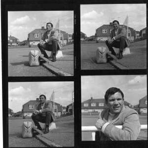 Four photos of Atlantic rower Tom McClean.