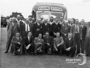 A local coach outing from Mitcham to Margate, 1956