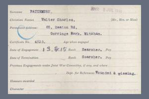 VAD Index Card (Page 1) for Walter Charles Pattenden