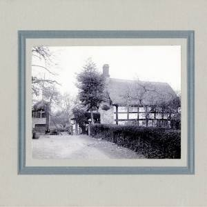 Aylhill, black and white thatched cottage, 1910