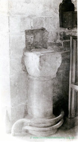 Holy Water Stoup, Woolhope Church, Herefordshire 1928