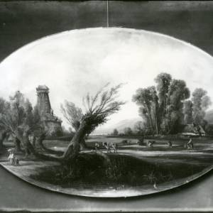 G36-015-08 Unframed oval painting of pastoral scene with cattle and a derelict windmill.jpg