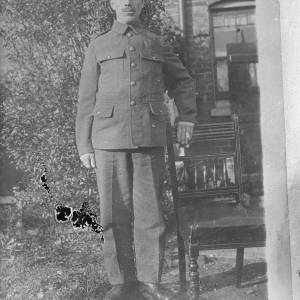 Soldier stood with chair