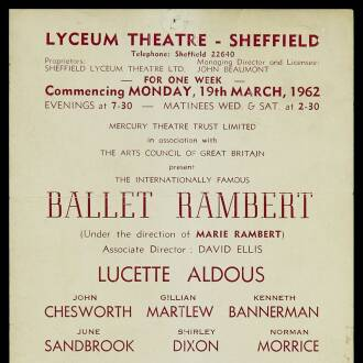 Lyceum Theatre, Sheffield, March 1962