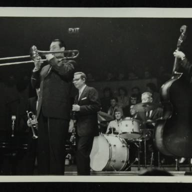 Robert 'Cutty' Cutshall, Bob Wilber, George Wettling and Leonard Gaskin (left to right)