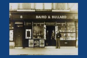 Tudor Drive, No.8, Baird & Bullard, Corner with Mr. Baird, Miss M. A. Bullard and customer, Lower Morden
