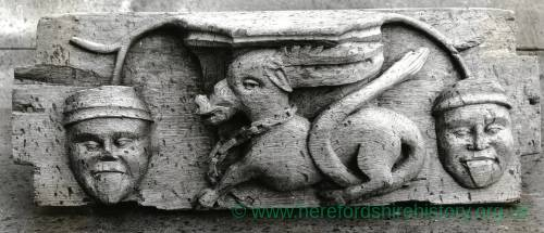 Wooden carving of an antelope in chains at Canon Pyon church,1902