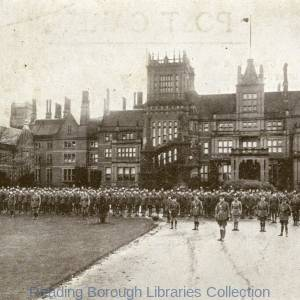 A Company of Soldiers, Bear Wood House, Bearwood, Reading, 1914.
