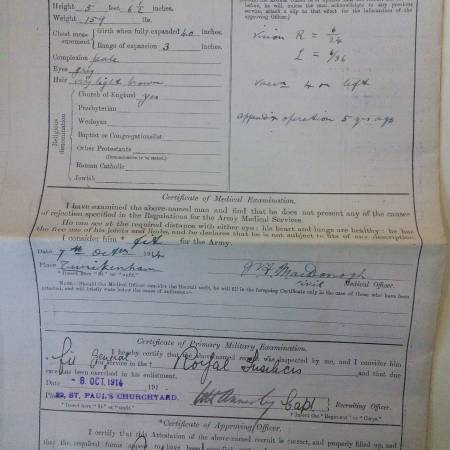 Enlistment Papers Extract for 2nd Lieutenant Cecil Bertie Gedge