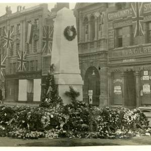 Memorial with Policeman standing watch, High Town, Hereford