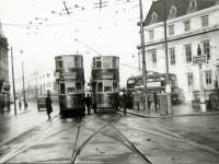 Trams at the terminus outside Wimbledon Town Hall