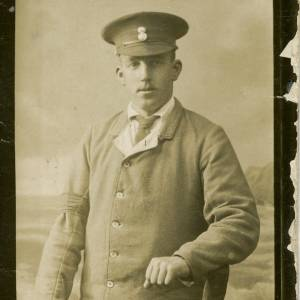 Private Frank Lewis in hospital uniform, known as 'Convalescent blues'