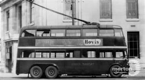 Wimbledon trolleybus near the town hall