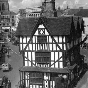 An elevated shot of the Black and White House, High Town, Hereford.