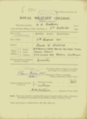 Henry Bateson -  RMC Form 18A Personal Detail Sheets Jan & Sept 1920 Intake