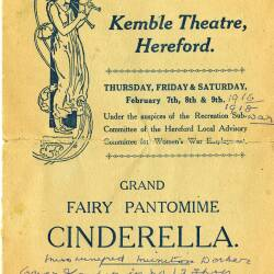 Grand Fairy Pantomime, Cinderella - programme from a performance at Kemble Theatre, Hereford in 1918 featuring many ROF Rotherwas workers