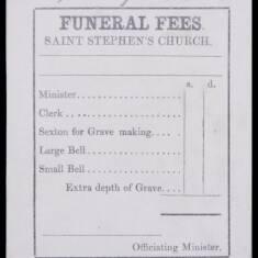 Funeral Fees, St Stephen's Church