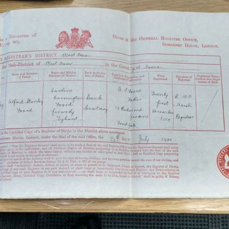 Birth Certificate - Charlton Willoughby Hougham Foord